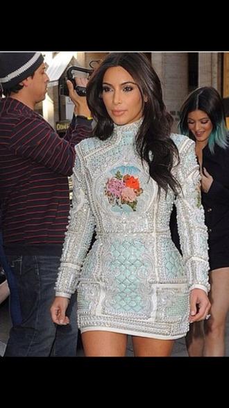 dress balmain trends 2014 haute couture jewels kim kardashian dress summer dress paris kanye west fashion pearl sexy trendsetter blackbarbie 2014 quilted jumpsuit rihanna