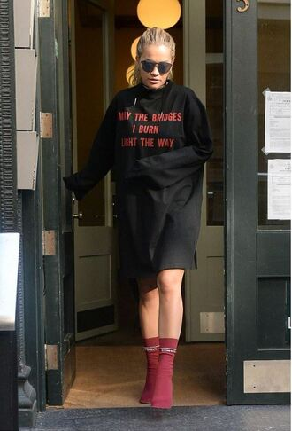 shoes rita ora boots t-shirt dress t-shirt sunglasses high heels