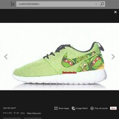 shoes,lime,green,nike,nike roshe run,custom nike roshe run,customize,ninja turtles,nike shoes