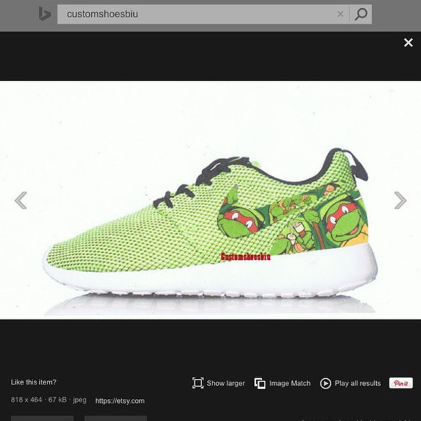 b7e217d335d73 shoes lime green nike nike roshe run custom nike roshe run customize ninja  turtles nike shoes