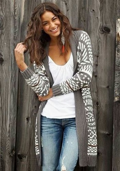 gray geometric cardigan tribal cardigan cold long cardigan gray and white