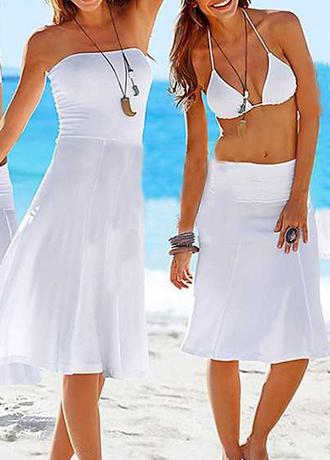 dress white beach dress beach strapless