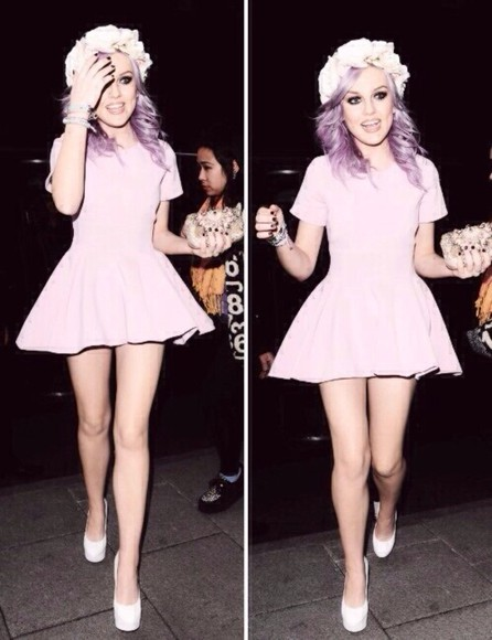 hair bow hair floral flower crown crown dress perrie perrie edwards little mix little mix jade pastel pastel goth purple flower makeup high heels skater skater dress skater skirt nails bag clutch