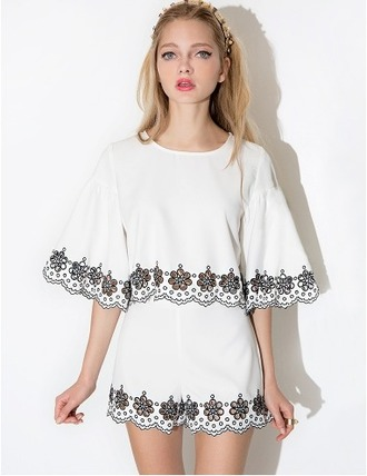dress cute summer white black and white two-piece matching set top shorts romper bell sleeves scalloped summer set spring set summer romper spring romper summer dress spring dress pixie market pixie market girl