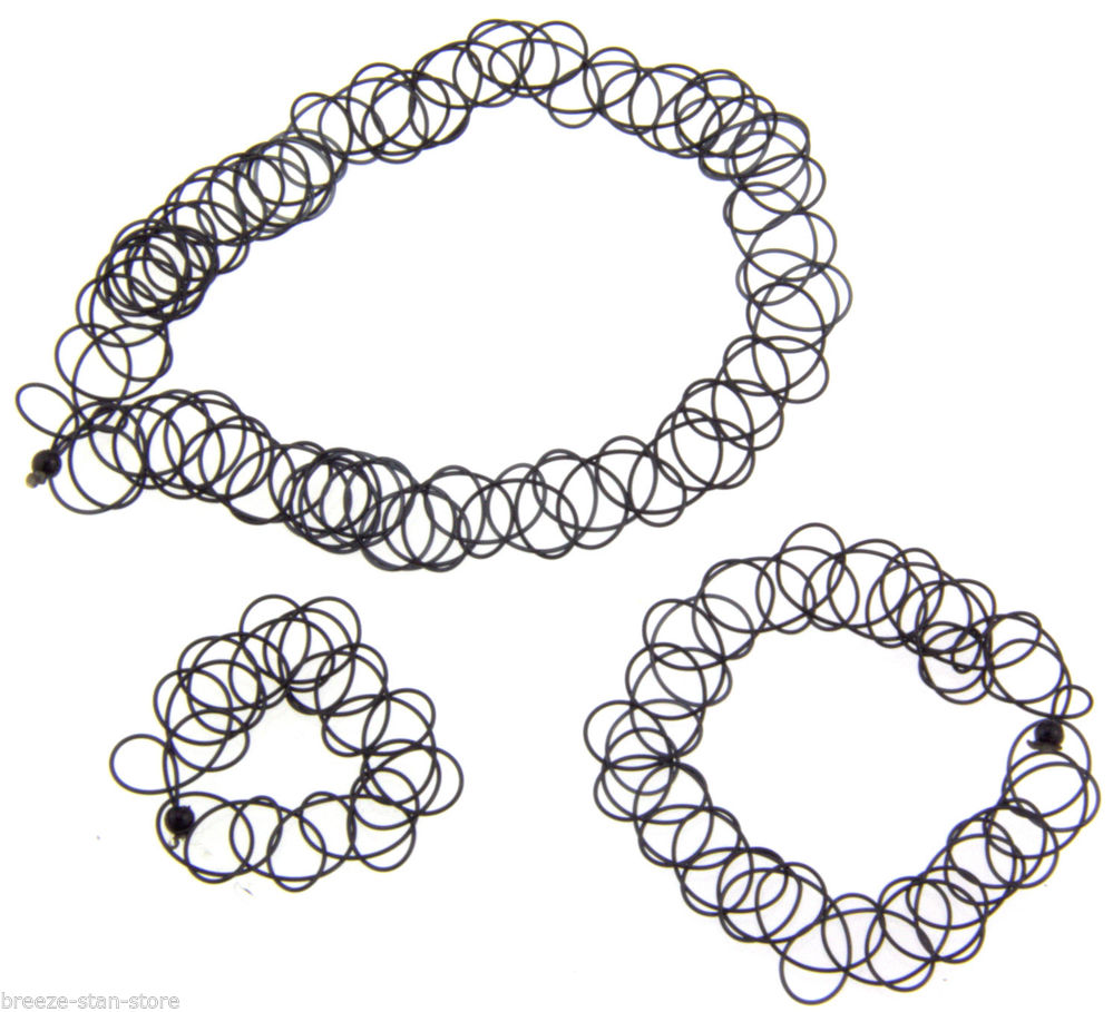 90's Black Tattoo Choker Necklace & Bracelet & Ring Set Elastic Stretch Gothic