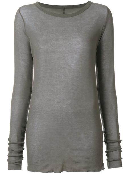 Rick Owens - long sleeve T-shirt - women - Cotton - 42, Grey, Cotton