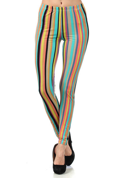 Women's Rainbow Multicolor Stripe Leggings - Fashion Leggings - PPAT1019