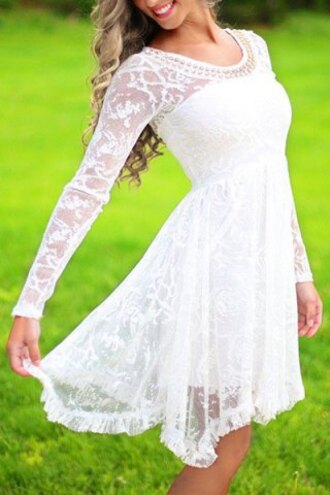 dress lace girly long sleeves romantic beaded scoop neck high waist ruffled white lace dress for women mesh trendy cute