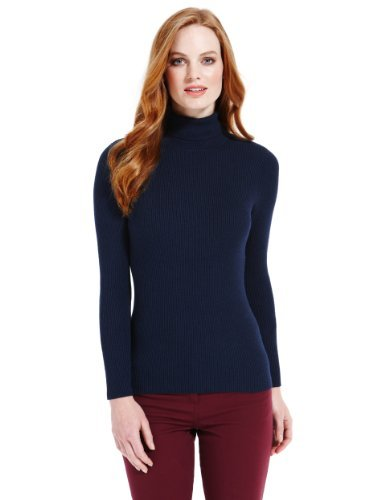 M&S Collection Polo Neck Ribbed Jumper - Marks & Spencer