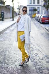 skinny pants,yellow,white coat,silver shoes,coat,top,pants,shoes,bag
