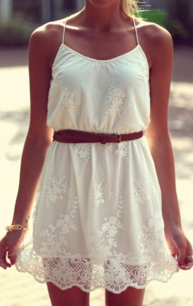 dress summer dress floral dress lace dress brown belt pretty girl girly white dress floral lace crochet white belted belted dress white lace brown belt airy summer sundress cute white dress bohemain dress belt gold bracelet pattern me clothes tan strapd straps cute fashion stop it right now spagetti straps country country style country style country dress country lace country girl outfit spring dress floaty dress summer outfits white short dress cute dress spaghetti strap white thin strap dress white lace dress sleeveless really cute dress romper white lace spaghetti strap summer dress