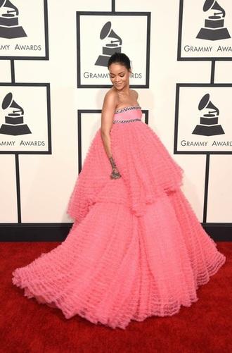 dress rihanna grammys dress ruffle pink dress gown bustier dress grammys 2015 puffy rihanna