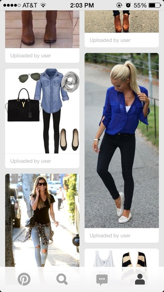 top denim top blue denim top purse black purse sunglasses black sunglasses bag shoes scarf