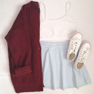 sweater converse chuck taylor all stars denim skirt cardigan red crop tops tank top cute shoes cardi skater skirt burgundy