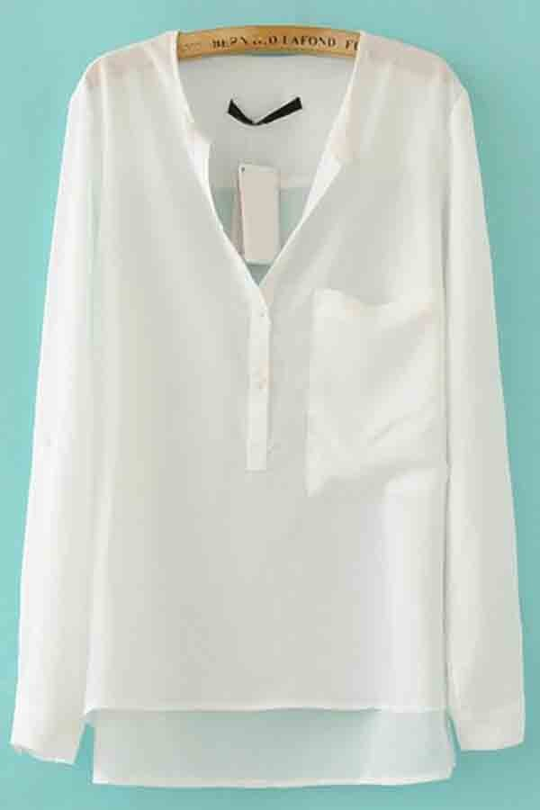 Big Pocket Chiffon Blouses @ Womens Shirts & Blouses,Women Shirts ...