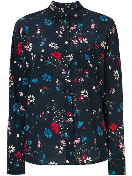 Balenciaga shirt floral shirt women floral blue silk top