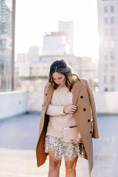 tovogueorbust,blogger,winter outfits,nude sweater,nude bag,all nude everything,camel coat,oversized turtleneck sweater,sequins,new year's eve,skirt