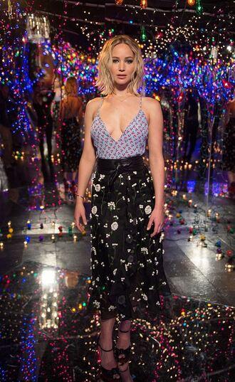 skirt top jennifer lawrence midi skirt plunge v neck floral sexy