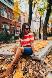 redsolesandredwine,blogger,shoes,shorts,sweater,brown boots,fall outfits,over the knee