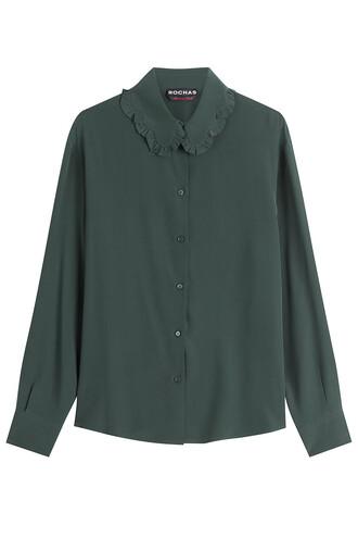 blouse silk green top
