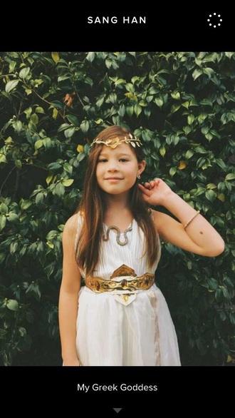 jewels gold headband belt braclet dress white cute necklace costume