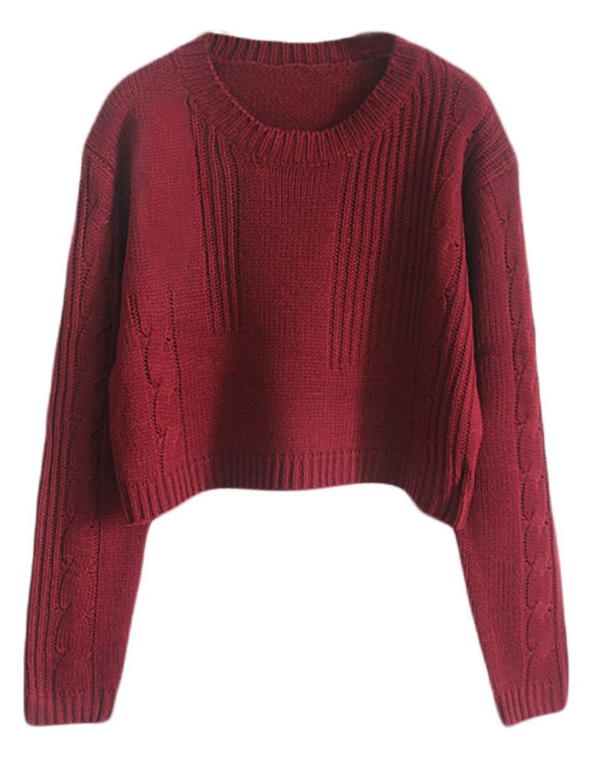 Women Loose Cable Knit Crop Jumper Sweater Burgundy at Amazon ...