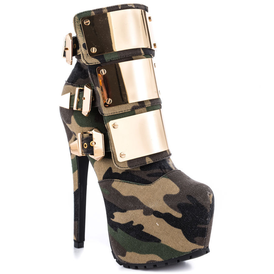 ls Free Shipping Women Motorcycle Boots High Heels Camouflage Platform Ankle Boots Gold Buckle Designer Shoes Shoes Woman 2013-in Boots from Shoes on Aliexpress.com