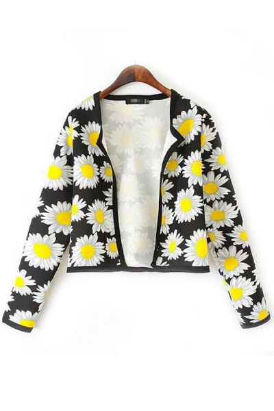 Swingy Floral Cropped Cardigan - OASAP.com