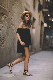 hat,summer hat,black off shoulder shirt,black shorts,black strappy sandals,blogger,sunglasses