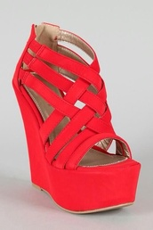 shoes,red,red high heels,wedges,criss cross,pumps