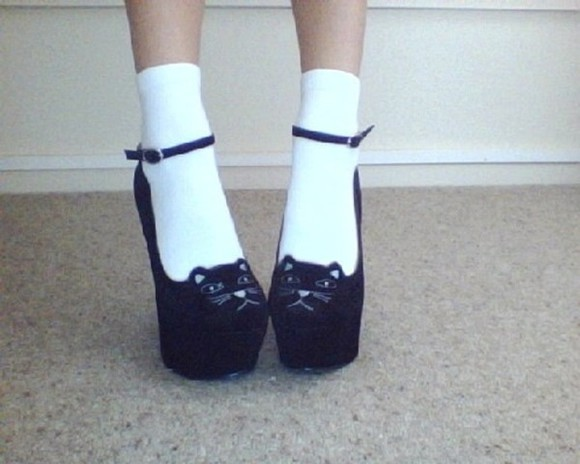 cats cute shoes black cat wedges high heels ankle strap strap kitty kawaii high heels grunge soft grunge
