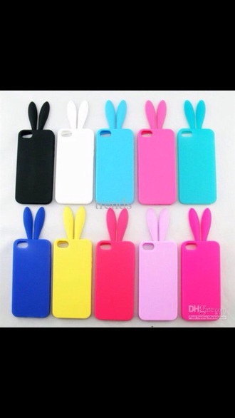 phone cover i phone 5 bunny ears rainbow different color iphone cover iphone 5 case iphone phone
