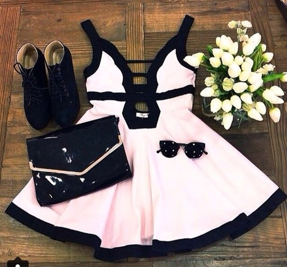 dress pink dress pink black little black dress open back short party dresses sunglasses