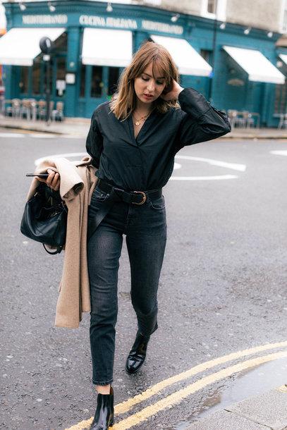 shirt tumblr black shirt denim jeans black jeans boots black boots ankle boots all black everything