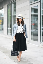 crystalin marie,blogger,t-shirt,jacket,skirt,hat,shoes,bag,jewels