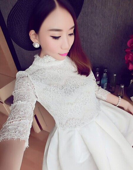 white dress dress white long sleeve dress wedding dress short dress short prom dress short party dresses lace dress white lace dress women dress club dresses clubwear dress lace