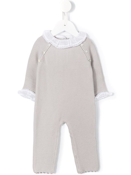 Tartine Et Chocolat ruffled collar knit romper, Toddler Girl's, Size: 12 mth, Grey