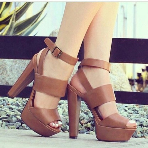 plateau brown sandals high heels strap sandals leather sandals shoes tan sultry fire shoes
