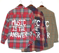 Music is the answer vintage flannel shirt warm colors (one of a kind)