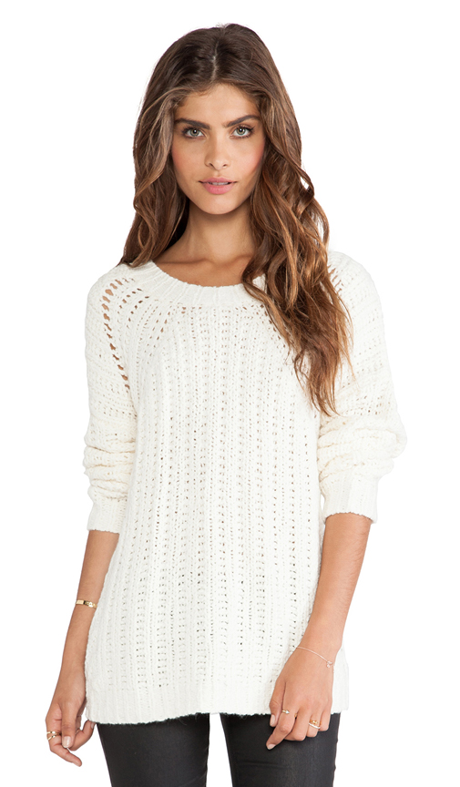 Elizabeth and James Textured Boxy Pullover in Cream from REVOLVEclothing.com