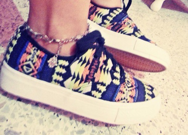 shoes multicolor vans aztec shoes
