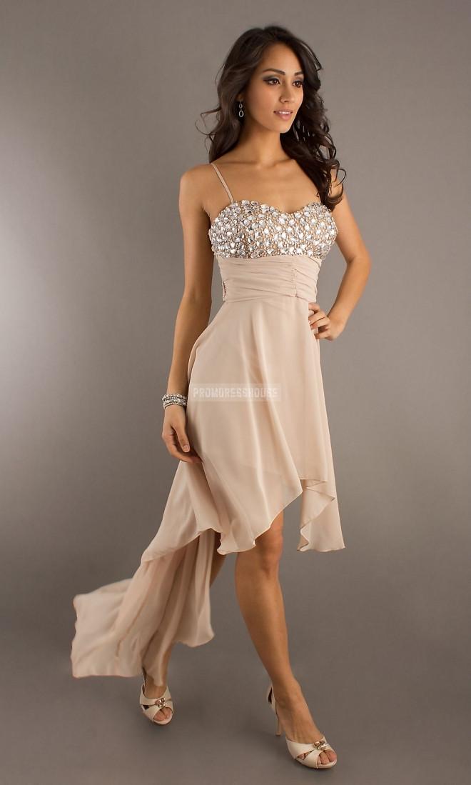 Straps Pink Empire Beading Asymmetrical Chiffon Cocktail Dress - Promdresshouse.com