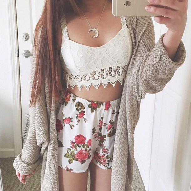 Pants shorts pretty style tumblr floral pants fashion tumblr outfit neaklace cardigan ...