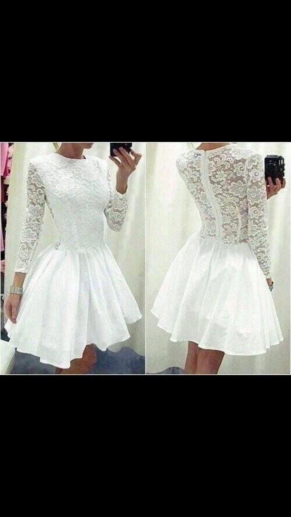 dress white dress white transparent lace dress skater dress