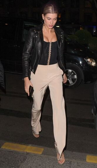 jacket bustier pants nude sandals hailey baldwin