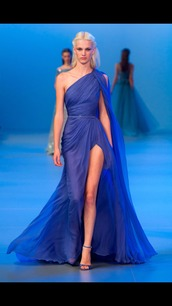 dress,blue dress,long dress,slit dress,elie saab,runway,fashion show,haute couture