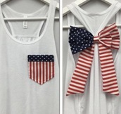 shirt,tank top,patriotic,red white and blue,bow,white,usa