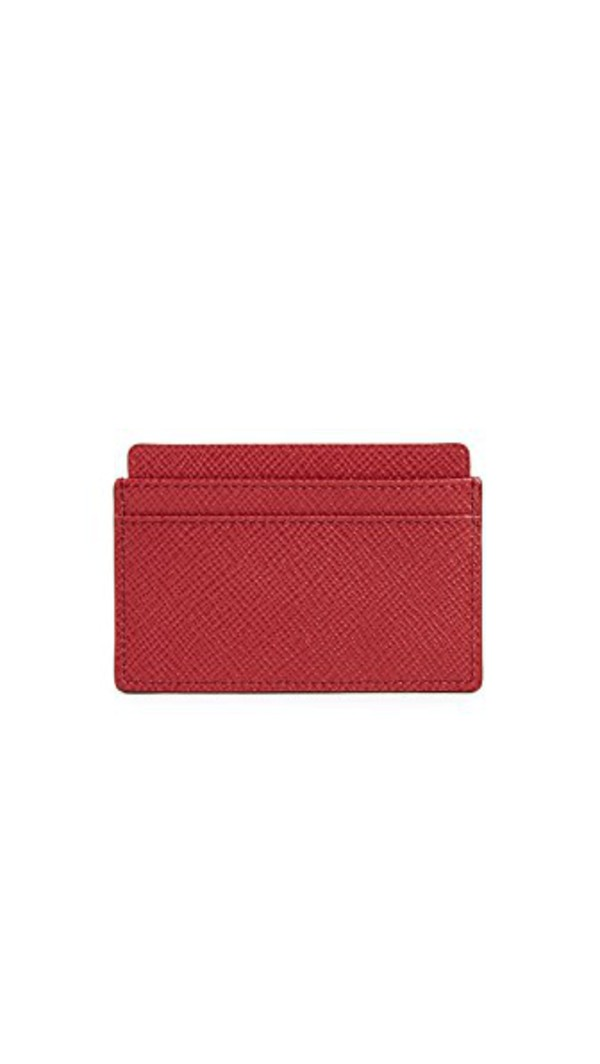 Smythson Panama Flat Card Holder in red