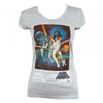 Womens Retro Star Wars Poster T Shirt Heather Grey