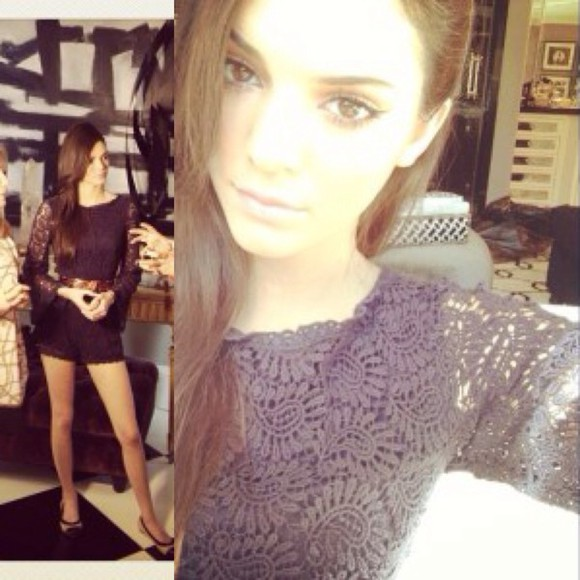 dress black long sleeves lace kardashian kendall jenner romper